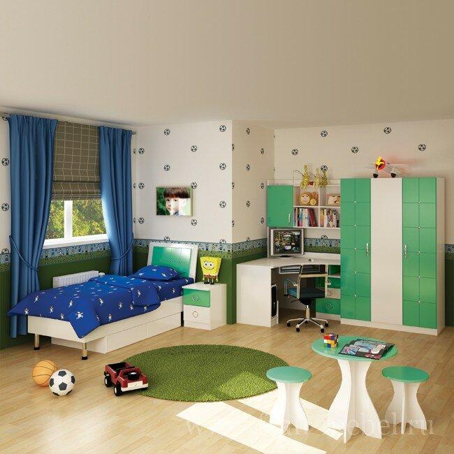 Гарнитуры для детских, Детская Ниагара (Прованс)Готовые композиции<br>Новая детская в цветовом варианте, подходящем как для мальчиков, так и для девочек. В кровати встроены удобные выдвижные ящики. Выполняется в цвете: корпус — белый, фасады МДФ — белый/салатовый. Матрас для кровати в стоимость не входит.<br>Комплектация и габаритные размеры (длина х высота х глубина):<br>• Шкаф, СВ-352: 1200 x 1900 x 580 мм <br>• Стол компьютерный, СВ-353: 1200 x 780 x 1200 мм <br>• Надстройка для стола, СВ-354: 1200 x 1125 x 270 мм <br>• Кровать, СВ-350: 840 x 600 x 2148 мм <br>• Тумба прикроватная, СВ-351: 400 x 526 x 454 мм <br>• Стол круглый, СВ-355: 600 x 625 x 600 мм <br>• 2 табурета круглых, СВ-356: 330 x 400 x 330 мм <br>Данная модель представлена в модульных детских, там вы можете набрать необходимое количество элементов.<br><br>Цвет корпуса: Белый<br>Цвет фасада: Зелёный<br>Скидка: 28%
