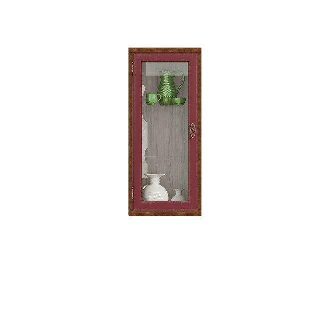 Диего, Витрина вертикальная, СВ-364ВДуб бордо<br>Вертикальная витрина из шпона ясеня и дуба. Задняя стенка в цвете: ясень беленый.<br>