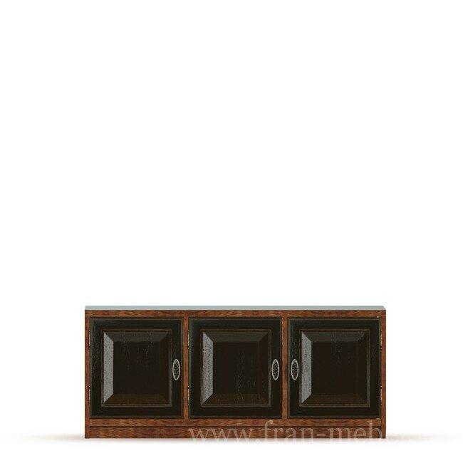 Гостиная Диего (Барокко), Тумба (3 двери) СВ-370 Диего (Барокко) черныйДуб черный<br>Трехдверная тумба из шпона ясеня и дуба. Комплектуется тремя полками. На тумбу можно поставить телевизор с диагональю до 56 дюймов. Задняя стенка в цвете ясень беленый.<br><br>Цвет корпуса: Ясень тонированный<br>Цвет фасада: Дуб черный<br>Скидка: None