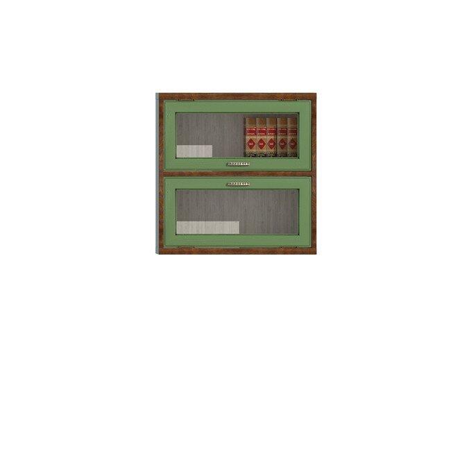 Диего, Витрина двойная горизонтальная, СВ-363ВДуб зеленый<br>Двойная витрина из шпона ясеня и дуба. Задняя стенка в цвете: ясень беленый.<br>