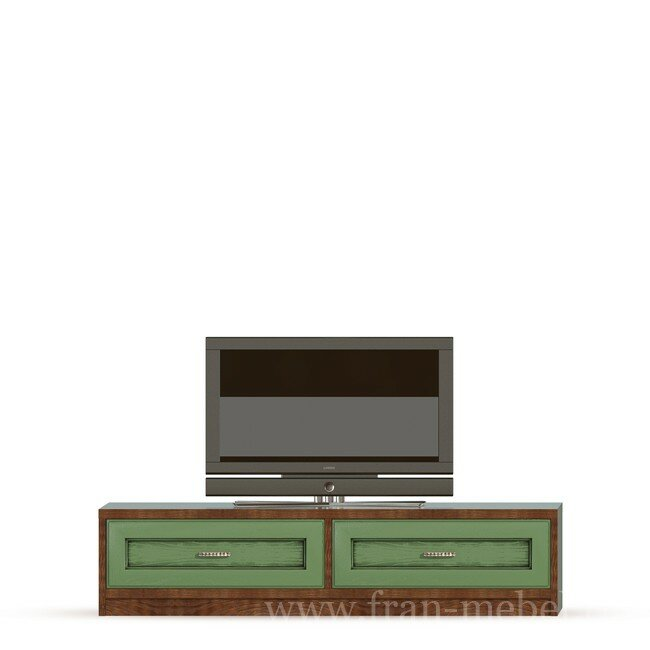 Гостиная Диего, Тумба (2 ящика), СВ-369 Дуб зеленыйДуб зеленый<br>Тумба в выдвижными ящиками из шпона ясеня и дуба. Ящики с доводчиками. На тумбу можно поставить телевизор с диагональю до 60 дюймов. Днище ящиков в цвете ясень беленый.<br>