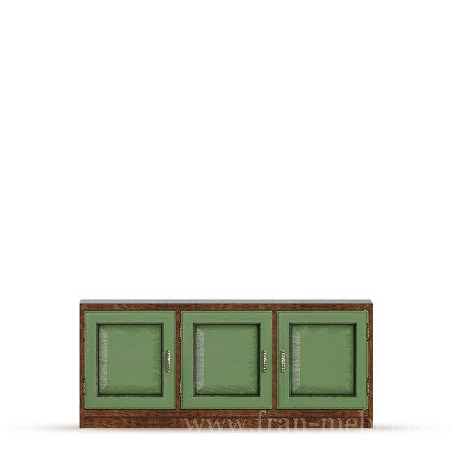 Диего, Тумба (3 двери), СВ-370Дуб зеленый<br>Трехдверная тумба из шпона ясеня и дуба. Комплектуется тремя полками. На тумбу можно поставить телевизор с диагональю до 56 дюймов. Задняя стенка в цвете ясень беленый.<br>