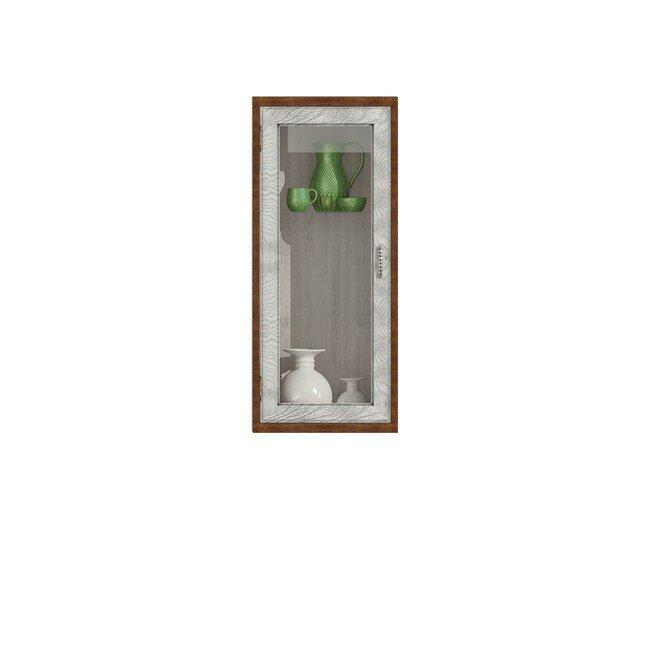 Диего, Витрина вертикальная, СВ-364ВДуб белый<br>Вертикальная витрина из шпона ясеня и дуба. Задняя стенка в цвете: ясень беленый.<br>