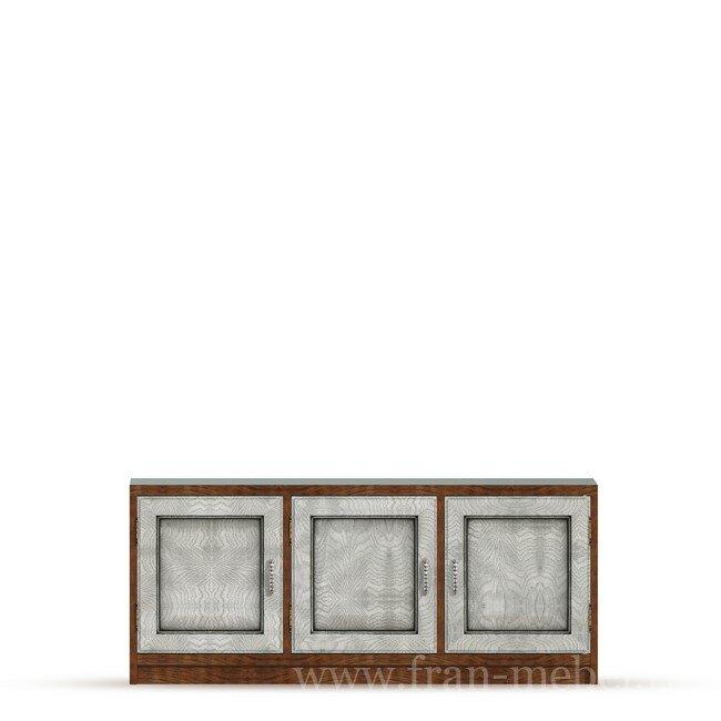 Диего, Тумба (3 двери), СВ-370Дуб белый<br>Трехдверная тумба из шпона ясеня и дуба. Комплектуется тремя полками. На тумбу можно поставить телевизор с диагональю до 56 дюймов. Задняя стенка в цвете ясень беленый.<br>