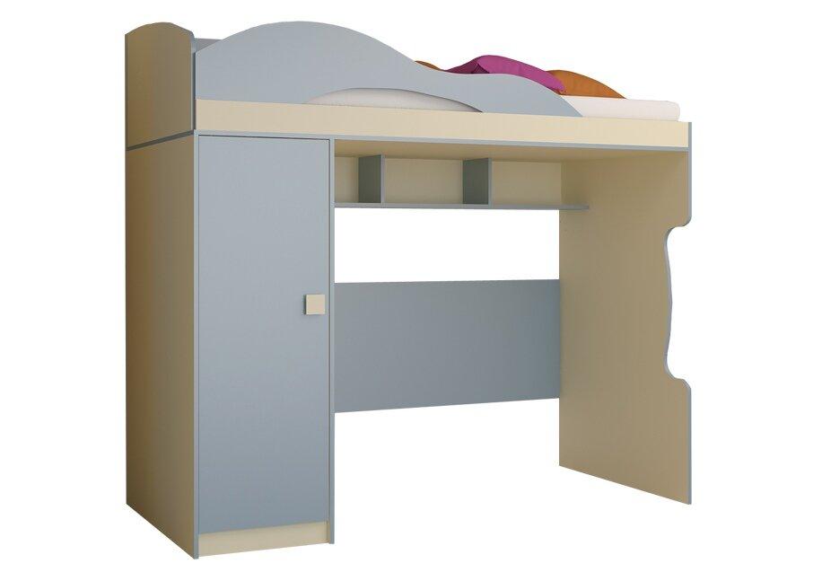 Радуга, Кровать 2 этаж + пеналВасилек/Фламинго<br>Двухэтажная детская кровать со стеллажом и пустым отделением для компьютерного стола или небольшого дивана. Матрас не входит в стоимость. Основание входит в стоимость.<br>