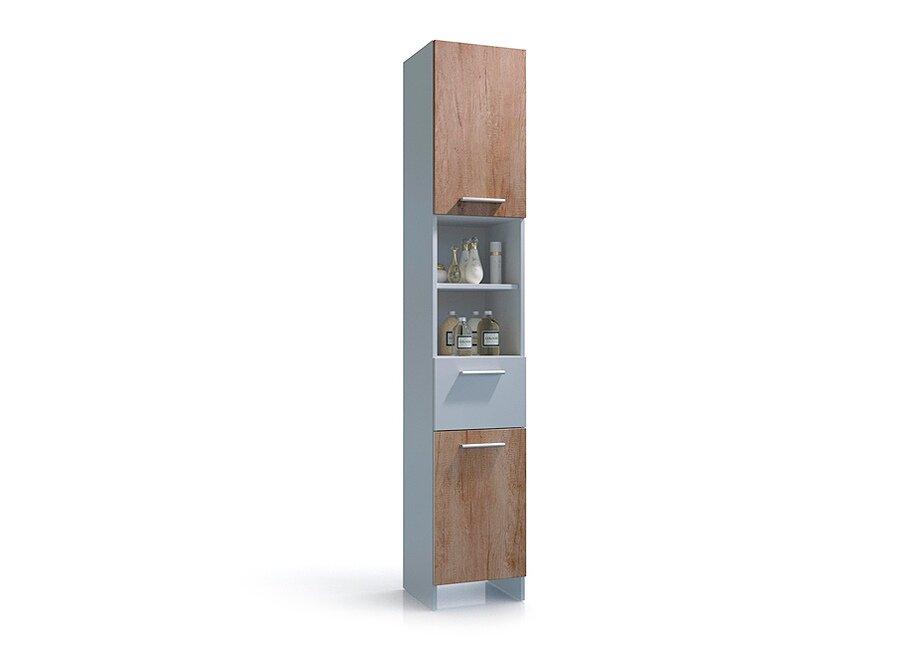 Электра, Колонка, СВ-912Белый/Дуб Небраска<br>Небольшой пенал для ванной комнаты, который идеально дополнит композицию и решит проблему хранения ванных принадлежностей.<br>