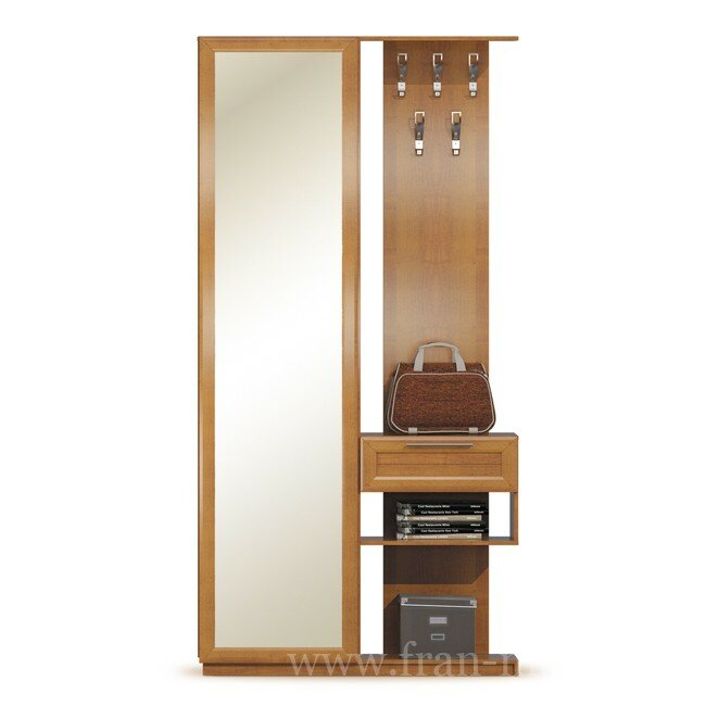 Прихожая Эстель, Шкаф с зеркалом и вешалкой, СВ-415 Эстель ОрехОрех<br>Универсальная прихожая, которая собрала в себе все необходимое: вместительный шкаф, большое зеркало, вешалку для одежды и удобный выдвижной ящик для разных мелочей.<br>