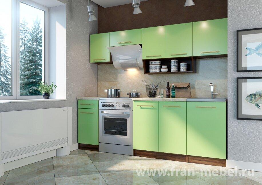 Кухня Арина (Сити)Ноче марино/салатовая<br>Современный кухонный гарнитур способный украсить любое помещение. Основное достоинство — сочетание текстуры ноче марино и салатового оттенка. Изготавливается из австрийской ЛДСП (Egger) в цвете корпуса — ноче марино, в цвете фасада — салатовый (матовый). <br><br>Столешница — лосось.<br>В комплект входят: три стола; четыре полки; две столешницы х40 и х80.<br>Дополнительно рекомендуется приобрести мойку, стеновую панель, сушку, пристеночный профиль, кромку, стыковочные профиля.<br>Глубина столов 450 мм.<br><br>Скидка: 50%