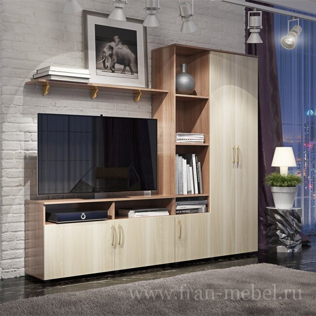 Стенка МиксСтенки<br>Компактная гостиная длиной 2,2 метра. Корпуса и фасады сделаны из высококачественной австрийской ламинированной древесностружечной плиты. Шкаф со стеллажом — это единая конструкция, но они независимы от тумбы (могут распологаться с любой стороны). Место для телевизор с диагональю до 46 дюймов (117 см). Корпус выполняется в цвете ясень шимо темный а фасады ясень шимо светлый, такое контрастное сочетание придаст гарнитуру яркости и утонченности.<br>