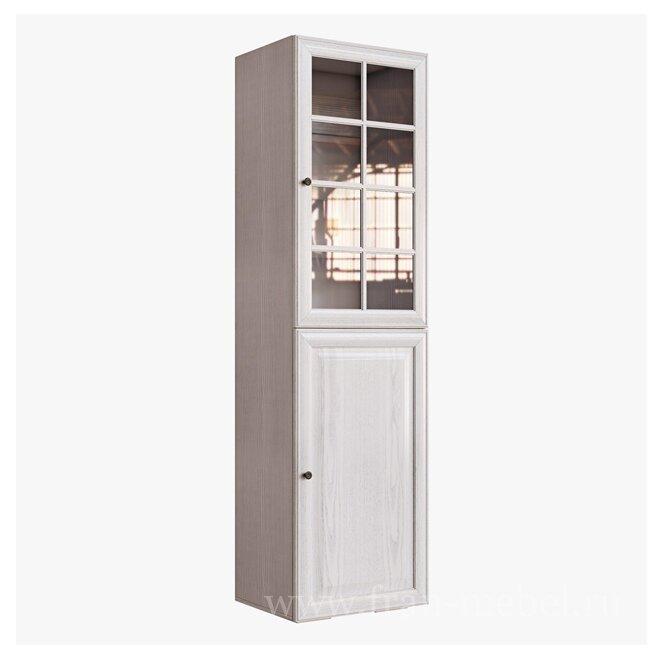 Гостиная Гавана (Лофт), Пенал-витрина СВ-315/1 Гавана (Лофт) кремДуб беленый<br>Двери в данном стеллаже-витрине с бесшумным и плавным закрытием.<br><br>Цвет корпуса: Вудлайн кремовый<br>Цвет фасада: Дуб беленый<br>Скидка: 30%