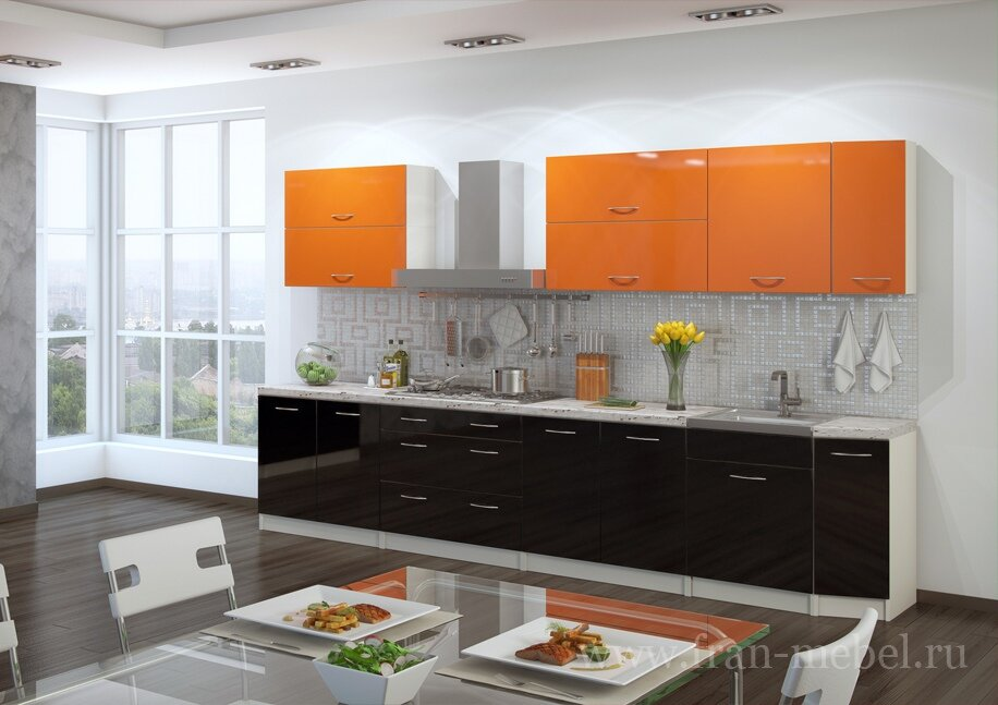 Кухня Барбара 3600 (Бела)Оранж/черный<br>Акционный гарнитур из кухонной системы Барбара. Длина 3,6 метра. Корпус из австрийской ЛДСП в цвете бежевый песок. Глянцевые Фасады из МДФ в цвете оранж и черный.<br>В комплект входят пять столов, шесть навесных полок, 18 ручек. Столешница, стеновая панель, мойка и сушка продаются отдельно в разделе Дополнительные элементы.<br><br>Скидка: 27%