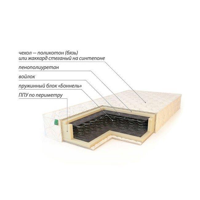Матрас КомфортМатрасы<br>Матрас Комфорт изготовлен на основе зависимого пружинного блока Бонель (Bonnell). В качестве мягкого элемента применены пенополиуретановые плиты, полиуретан отделен от пружинного блока прослойкой войлока. Матрас Комфорт схож по конструкции с моделью Стандарт, основным отличием от данной модели являются усиленные пенополиуретановые борта, благодаря которым несущая способность матраса Комфорт повышена до 90 кг.<br><br>Чехол матраса – поликотон (бязь).<br><br>Скидка: None