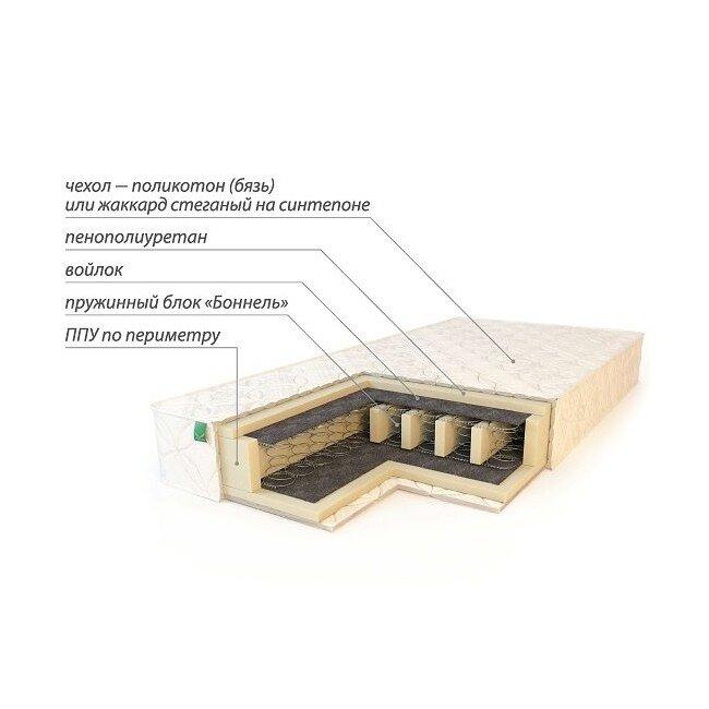 Матрас Комфорт усиленныйМатрасы<br>Матрас Комфорт усиленный изготовлен на основе зависимого пружинного блока Бонель (Bonnell). Мягкие пенополиуретановые плиты отделены от пружинного блока прослойкой войлока. Наличие войлоковой прослойки существенно увеличивает срок эксплуатации матраса. Борта матраса для большей жесткости усилены пенополиуретаном. От модели Комфорт матрас Комфорт усиленный отличается наличием специальных продольных пенополиуретановых усилителей. Благодаря действию которых матрас способен выдерживать вес до 110 кг на односпальное место.<br><br>Чехол матраса – поликотон (бязь).<br><br>Скидка: 10%