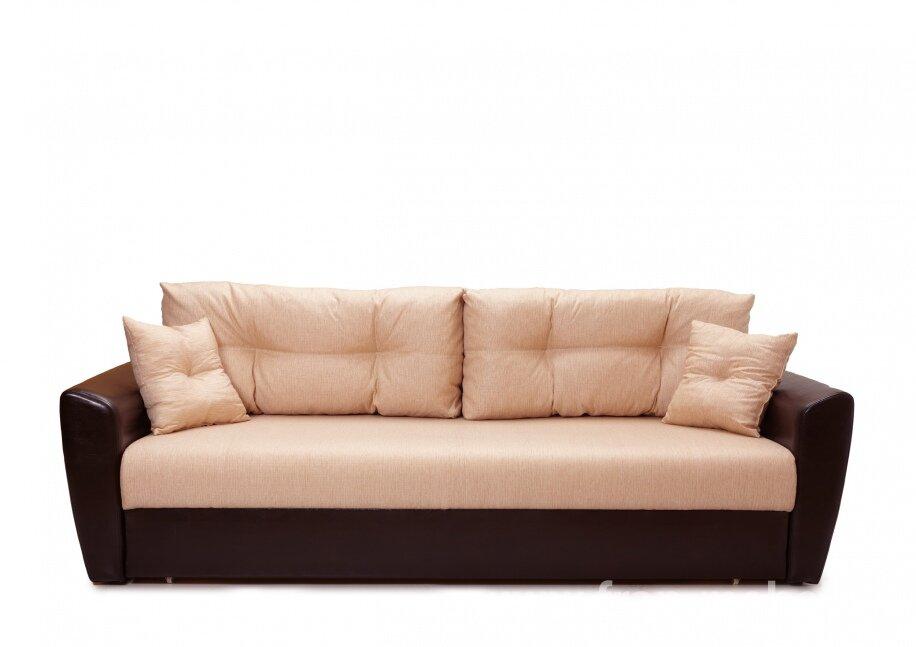 Диван Амстердам (Стиль) бежевыйСветло-бежевая рогожка<br>Пожалуй, самая популярная модель дивана на Российском рынке. Все это благодаря своим неоспоримым преимуществам: большое и удобное спальное место, оригинальный дизайн, безупречный механизм трансформации еврокнижка и многое другое. Обивка из экокожи и ткани высокого класса придает респектабельный вид. Прочный каркас гарантирует долгий срок службы.<br>Внимание! В комплект входят только большие подушки на спинке дивана.<br><br>Скидка: 50%