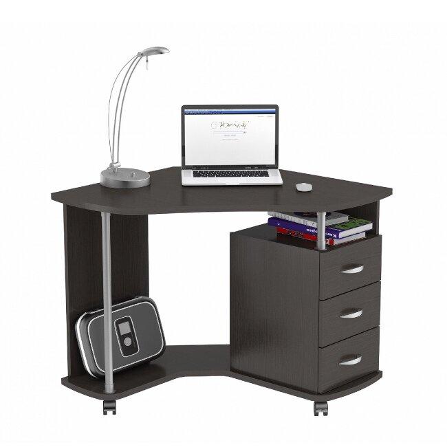 Стол компьютерный, КС 20-25 (венге)Столы<br>Компактный угловой компьютерный стол с тремя выдвижными ящиками.<br>Конструкция стола позволяет производить сборку, как с левосторонним, так и с правосторонним расположением тумбы.<br>Материалы: корпус — ЛДСП 16 мм, столешница — утолщенная плита 22 мм.<br>