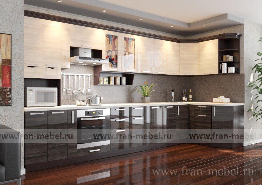 Кухня Дриада Венеция 5 угловая леваяЯсень глянец/серый глянец<br>Кухня «Венеция 5» угловая левая — имеет максимальную функциональность. Добавлен удобный ящик-бутылочница, а также ниша для электроплиты. Угловая форма кухни позволит разместить обеденный стол и отделить зону готовки от зоны приема пищи. Карниз цвета «венге».<br><br>Оригинальный рисунок витражей кухонь «Венеция», разработанный дизайн-студией «XXI Век», выполнен в стиле «Тиффани», нанесен в соответствие с современными технологическими и экологическими требованиями и защищен от «выгорания». Во всех кухнях серии есть выдвижные ящики, сконструированные по современной технологии «метабокс» – ящики легко и полностью выдвигаются, обеспечивается удобный доступ к содержимому. Такая конструкция выдвижного ящика значительно увеличивает срок его эксплуатации.<br>Корпуса из ЛДСП в цвете — венге.<br>Фасады из МДФ в цвете ясень бежевый глянец, серый глянец.<br><br>В стоимость входит: девять столов, десять полок, надставка, ручки.<br>Дополнительный подарок при покупке данной кухни — полка для специй, карниз и сушка с поддоном!<br>