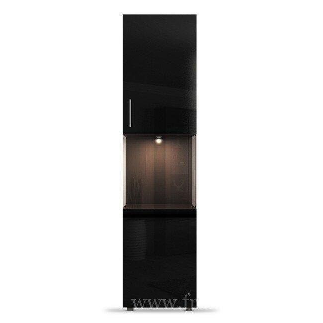 Фигаро, Пенал с витриной, СВ-300Дуб феррара / черный глянец<br>Фасад для всего элемента единый. Светильники в коплект не входят.<br>