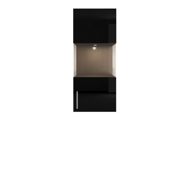 Гостиная Фигаро, Витрина навесная, СВ-302Дуб феррара / черный глянец<br>Фасад для всего элемента единый. Светильники в коплект не входят.<br>