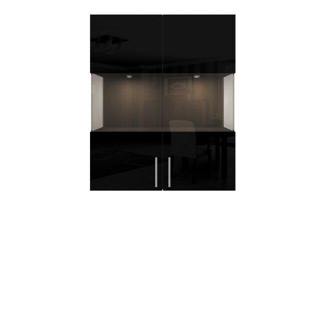 Гостиная Фигаро, Витрина навесная, СВ-303Дуб феррара / черный глянец<br>Фасад для всего элемента единый. Светильники в коплект не входят.<br>