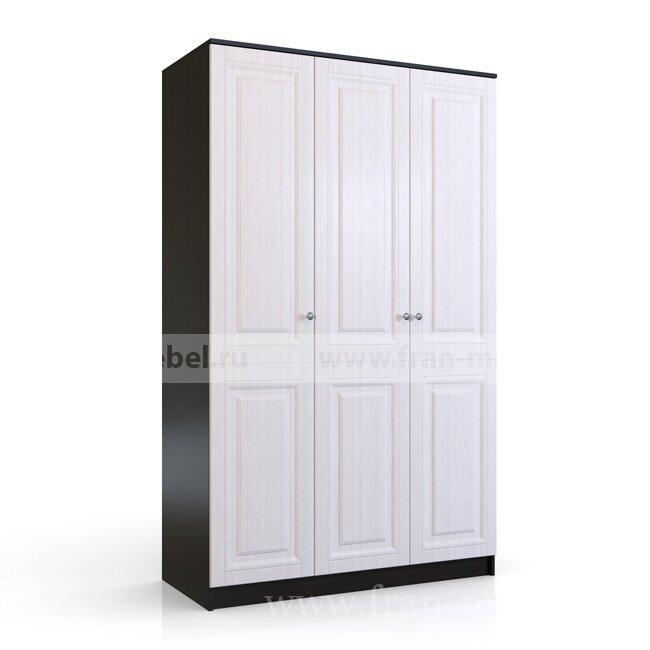 Сибирь, Шкаф 3-х дверный Е219Выбеленный дуб<br>Большой шкаф длиной 1,2 метра, по сравнению с 2-х дверным — увеличено число вещевых полок и расширена штанга для костюмов и платья.<br>