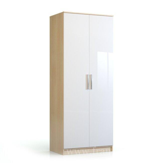 Николь, Шкаф 2-х дверный, СВ-543Дуб кремона/белый глянец<br>Шкаф шириной 90 см. Предназначен для одежды на вешалках. Верхнее отделение для разных мелочей. Комплектуется штангой для вешалок.<br>