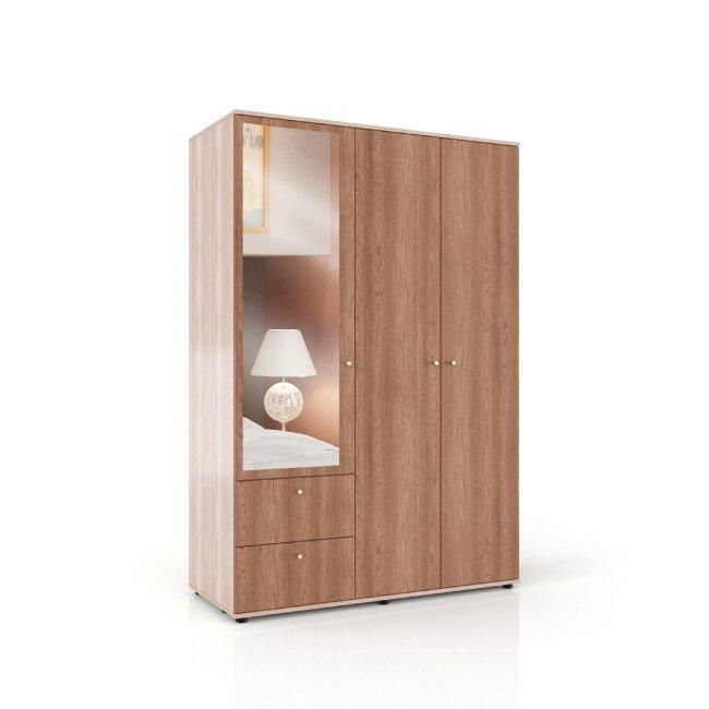 Спальня Болеро, Шкаф трехдверный, СВ-439 Болеро Ясень шимаЯсень шимо светлый и темный<br>Вместительный трёхдверный шкаф. Оснащён двумя выдвижными ящиками, штангой для вешалок и несколькими полками.<br>