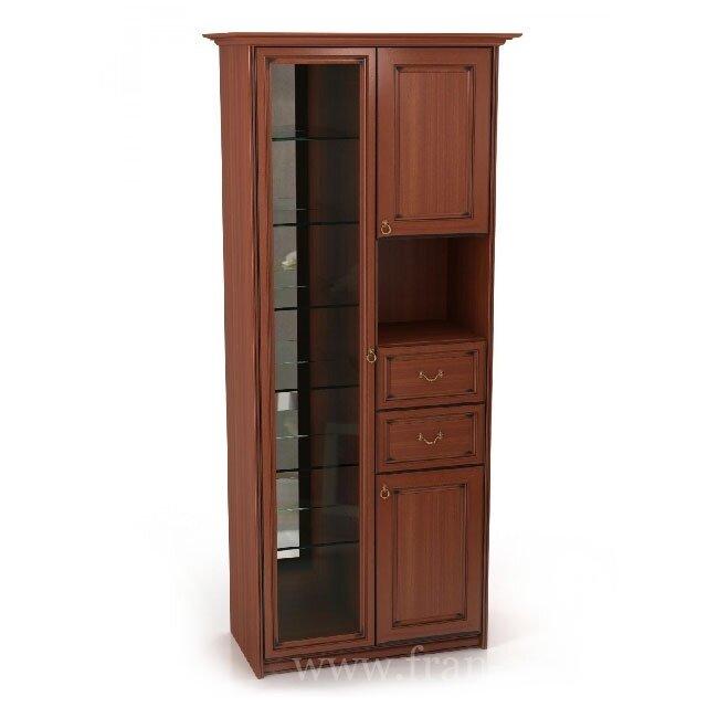 Гостиная Венеция, Шкаф, 900-04 Яблоня локарноЯблоня локарно<br>Включает отделение со стеклянной дверью, два выдвижных ящика и открытую нишу.<br>