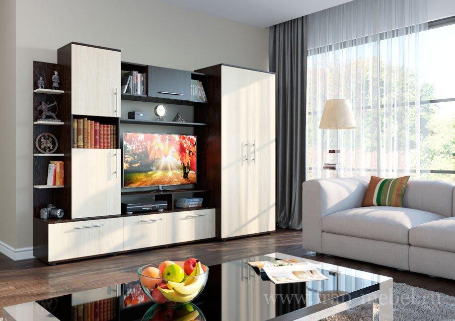 Каир (Амстердам)Стенки<br>Гостиная «Амстердам» отражает самые актуальные тенденции современного дизайна: нестандартные полки, современные цвета, интересная компоновка. Стенка выполнена из качественного ЛДСП.<br>Размер ниши под ТВ: 1062 х 678 мм<br>