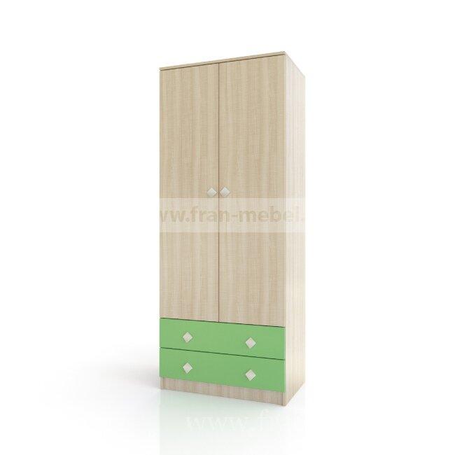 Детская Жили-были (Андрея), Шкаф Жили-были (Андрея) дуб сонома/зелёныйДуб сонома/зеленый<br>Двухдверный шкаф с двумя выдвижными ящиками. Фасады ящиков из МДФ. Внутри шкафа штанга для вешалок.<br><br>Цвет корпуса: Дуб сонома<br>Цвет фасада: Зелёный<br>Скидка: 40%