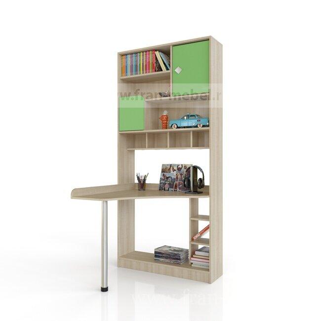 Детская Жили-были, Шкаф-стол Жили-Были Дуб сонома/зеленыйДуб сонома/зеленый<br>Эргономичный стол-стеллаж для детской комнаты. В стеллаже много отделений для хранения учебников, дисков, игрушек и разных мелочей. На стеклянной витрине оригинальный рисунок волка, так и приходит на ум фраза: «Ну ты это, заходи если что» :-).<br>