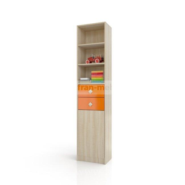 Жили-были, СтеллажДуб сонома/оранжевый<br>Высокий и не глубокий стеллаж с двумя выдвижными ящиками.<br>