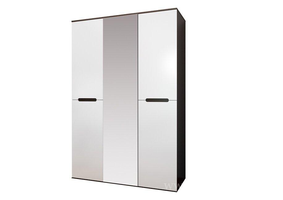 Спальня Вегас (Ангстрем), Шкаф 3-х дверный Вегас (Ангстрем) венге/белыйВенге/белый<br>Большой и вместительный 3-х дверный шкаф. Есть все необходимое для хранения вещей: восемь полок и большая штанга для вешалок.<br><br>Цвет корпуса: Венге<br>Цвет фасада: Белый глянец<br>Скидка: 30%