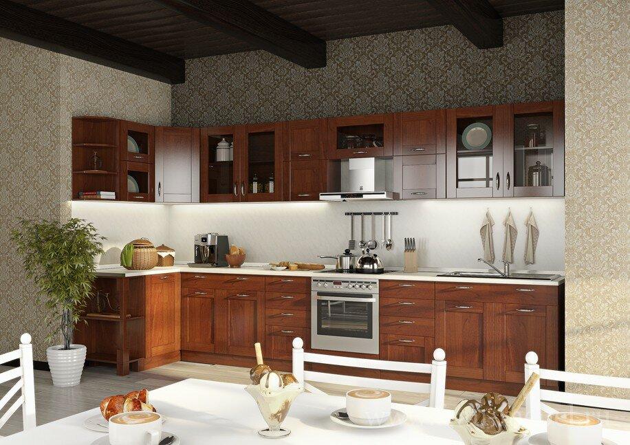 Кухонная система Катрин Шейкер (Лара)Черешня<br>Данный вариант предназначен для людей любящих классику в мебели и, в то же время, желающих не отставать от современных тенденций. Крашенные фасады из массива и шпона бука, а также прозрачные бронзированные витрины способствуют неповторимому наслаждению новым интерьером. <br>Выполняется в цвете: <br>корпус — вишня барселона,<br>фасады — черешня.<br>Ручки продаются отдельно в разделе Дополнительные элементы!<br><br>Скидка: 30%