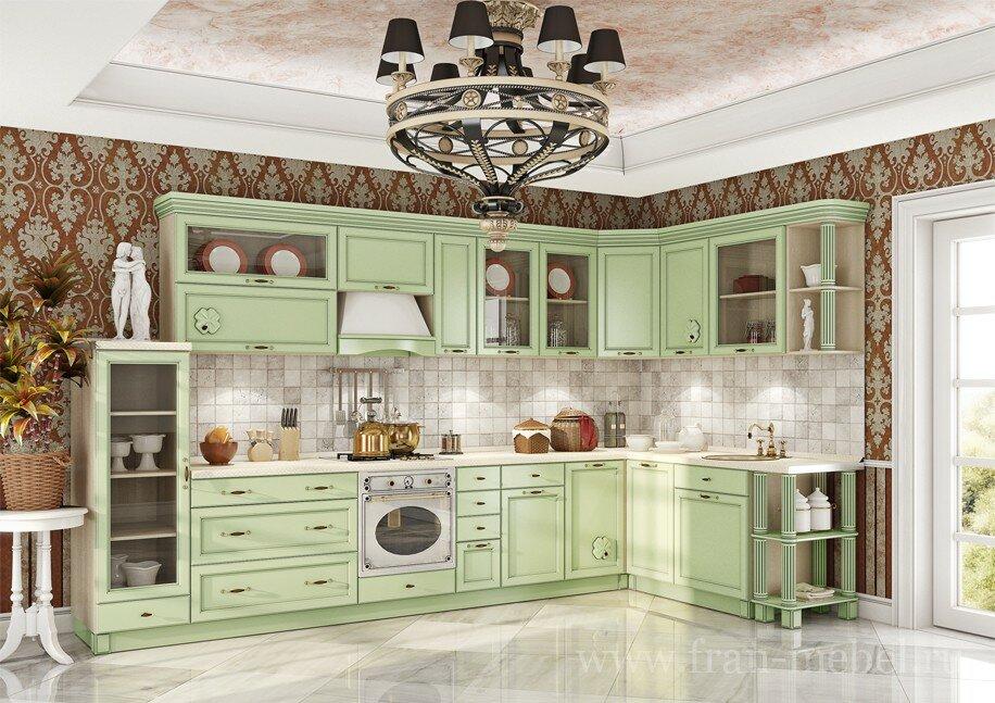 Кухонная система Барбара ЛюксСалатовая (патина)<br>Дизайнеры мебельной фабрики «ФРАН», приложили максимум усилий, чтобы разработать еще более универсальную и стилизованную кухню. Новая система будет хорошо смотреться как в квартире, так и загородном доме. Вся кухня, включая фрезерованные фасады из МДФ, выполнена в модном салатовом цвете с добавлением современной технологии нанесения патины (технология искусственного старения), благодаря добавлению рельефных стекол кухня стала выглядеть более гармонично и изящно.<br>Выполняется в цвете: корпус — бежевый песок, фасад МДФ патина — салатовый.<br>Ручки продаются отдельно в разделе «Дополнительные элементы»!<br>