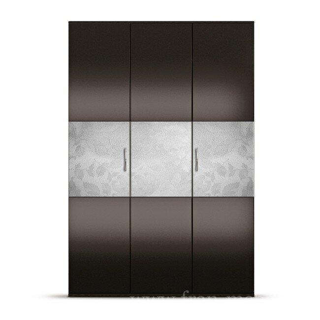 Гостиная Норман, Шкаф 3-х дверный, СВ-46Шелкография<br>Большой и вместительный трехдверный шкаф. Внутри есть пространство для одежды и много полок. Сочетание белой шелкографии с черным глянцем придаст вашей комнате элегантности и стиля. Шкаф комплектуется штангой для вешалок.<br><br>Цвет корпуса: дуб феррара<br>Цвет фасада: черный глянец/белая шелкография<br>Скидка: 50%