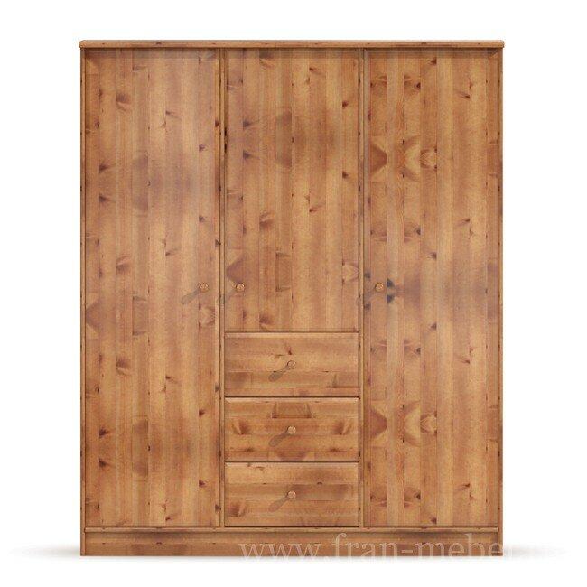 Детская Юниор (Атлантида), Шкаф 3х дверный СВ-101 Юниор (Атлантида) сосна тонированная