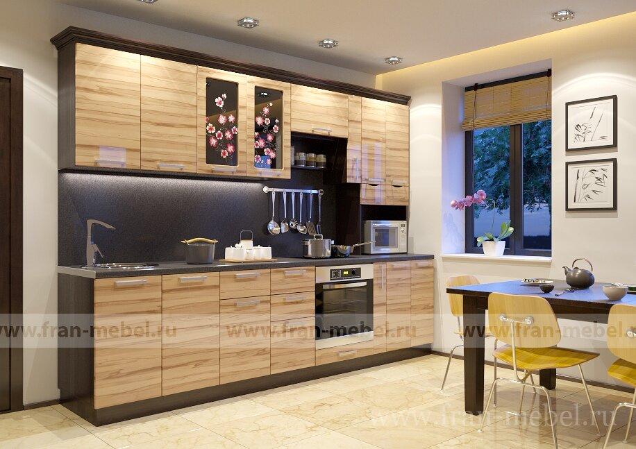 Кухня Сакура 5 (Вики) ФРАН Сакура 5 — полнофункциональная трехметровая кухня, скомплектованная всеми необходимыми кухонными блоками. Впервые в кухне эконом-класса предусмотрен удобный ящик-бутылочница, а также стол по встраиваемый духовой шкаф. Фасады изготовлены по новейшей итальянской технологии глубокой переработки МДФ на самом современном оборудовании.  Корпуса из ЛДСП в цвете — венге. Фасады из МДФ в цвете бук-капучино.  В стоимость входит: шесть столов, пять полок, надставка, ручки. Дополнительный подарок к данной кухне — полка для специй, карниз и сушка с поддоном!